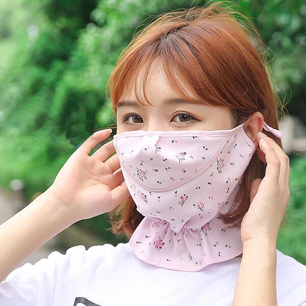 Floral Ice Silk Sunscreen Face Mask