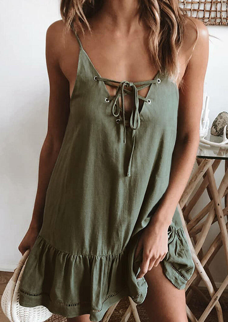 Criss-Cross Spaghetti Strap Mini Dress - Army Green