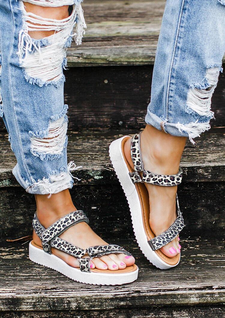 Women's Summer Leopard Printed Buckle Strap Sandals