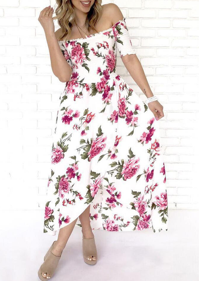 Floral Ruffled Off Shoulder Maxi Dress - White