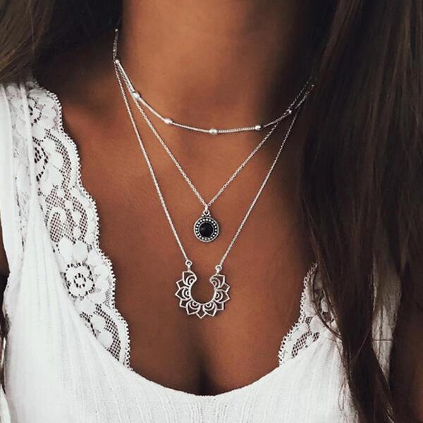 Bohemian Vintage Multi-Layered Lotus Pendant Necklace