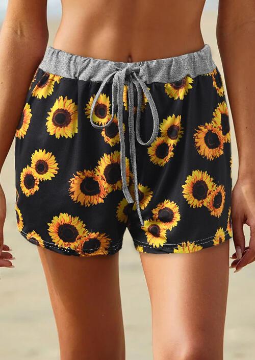 Sunflower Tie Drawstring Shorts - Black