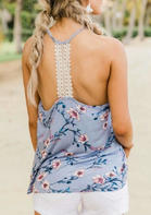 Floral Lace Splicing Open Back Camisole - Sky Blue