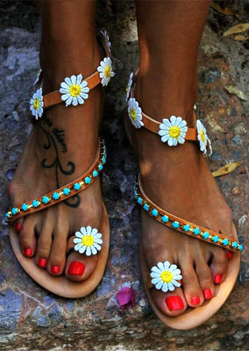 Daisy Bead Slip On Flat Sandals