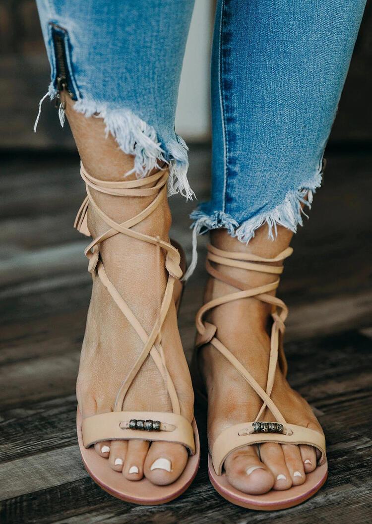 Tassel Criss-Cross Beads Flat Sandals