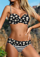 Daisy Striped Splicing Bikini Set - Black