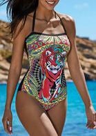 Aztec Tiger Criss-Cross Tie Halter One-Piece Swimsuit - Black