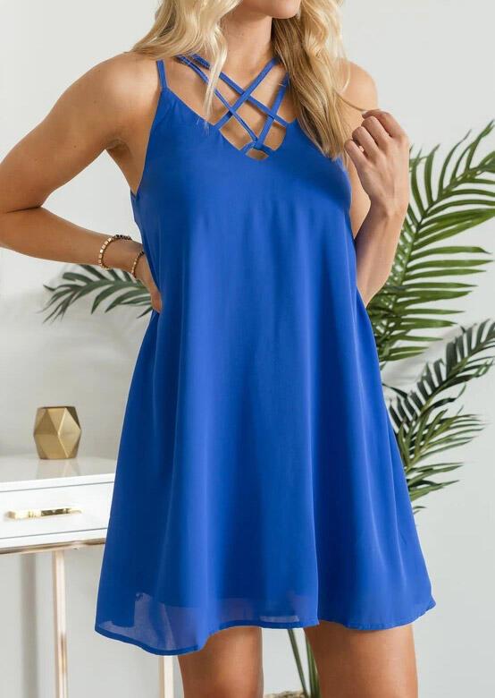 Criss-Cross Hollow Out Spaghetti Strap Mini Dress - Blue