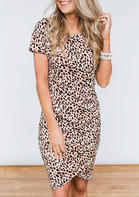 Asymmetric Leopard Ruffled Bodycon Dress without Necklace