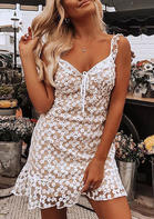 Floral Lace Tie Spaghetti Strap Mini Dress without Necklace - Flesh