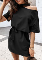 Cold Shoulder Tie Mini Dress - Black