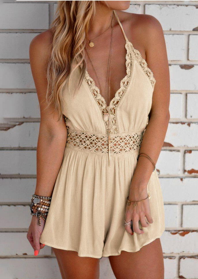 Hollow Out Tie Romper without Necklace - Apricot