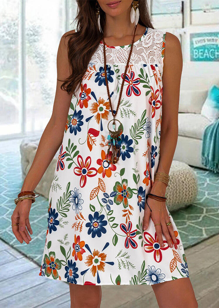 Lace Splicing Floral Mini Dress without Necklace - White