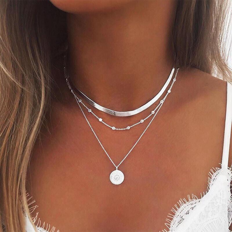 Multi-Layered Alloy Lotus Pendant Necklace