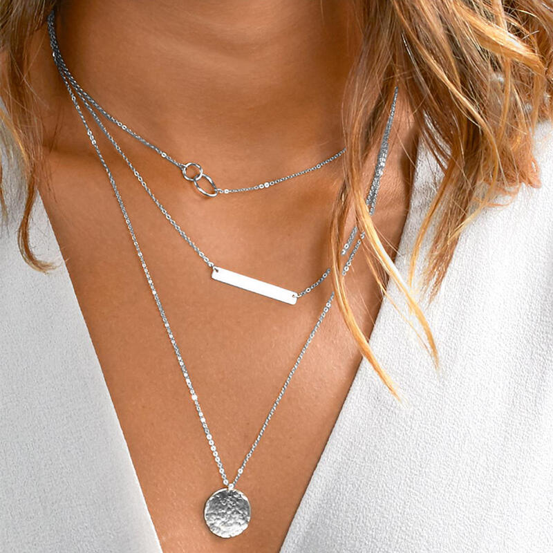 Geometric Round Multi-Layered Pendant Necklace