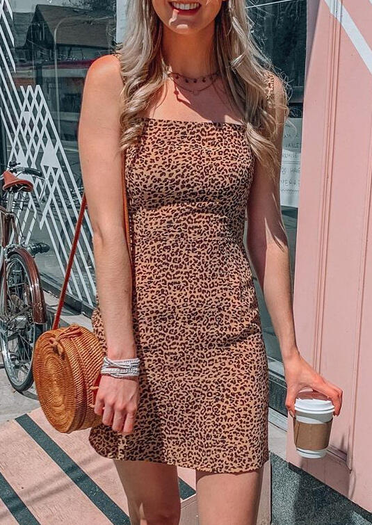 Leopard Sleeveless Bodycon Dress without Necklace