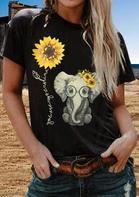 You Are My Sunshine Sunflower Elephant T-Shirt Tee - Black