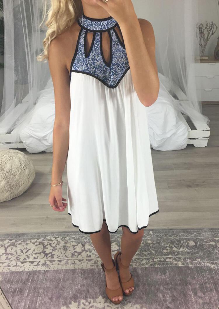 Halter Hollow Out Mini Dress - White
