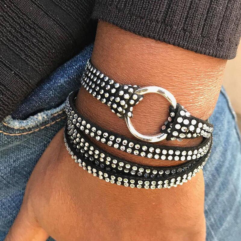 Crystal Rhinestone Faux Leather Wrap Bracelet