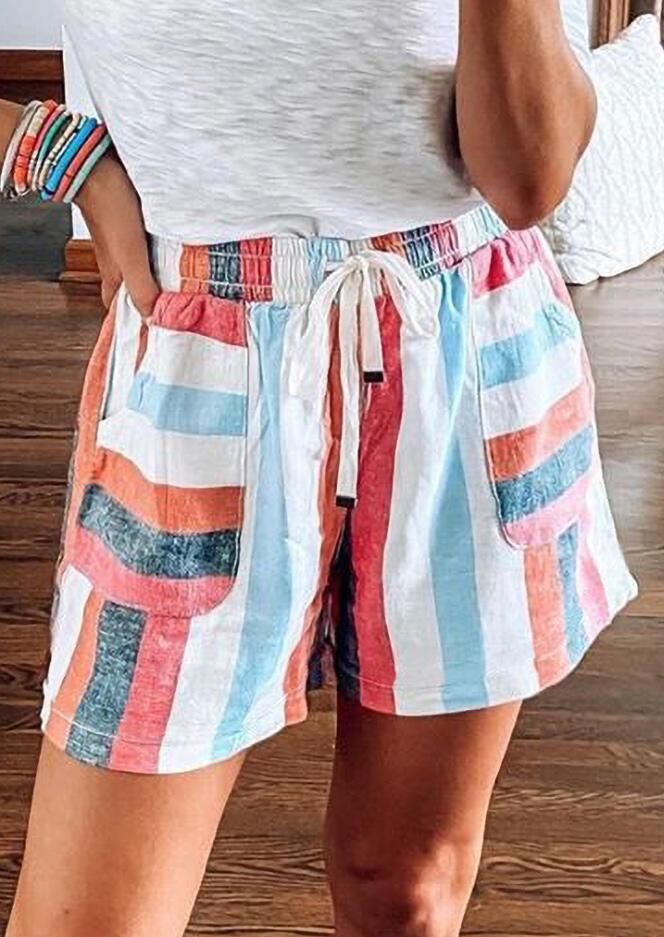 Striped Pocket Tie Drawstring Shorts
