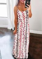 Lips Leopard Striped Splicing Spaghetti Strap Maxi Dress - White