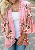 Lace Floral Splicing Hollow Out Cardigan without Necklace - Pink