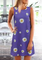 Daisy O-Neck Mini Dress - Purple