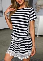 Striped Lace Splicing Drawstring Mini Dress