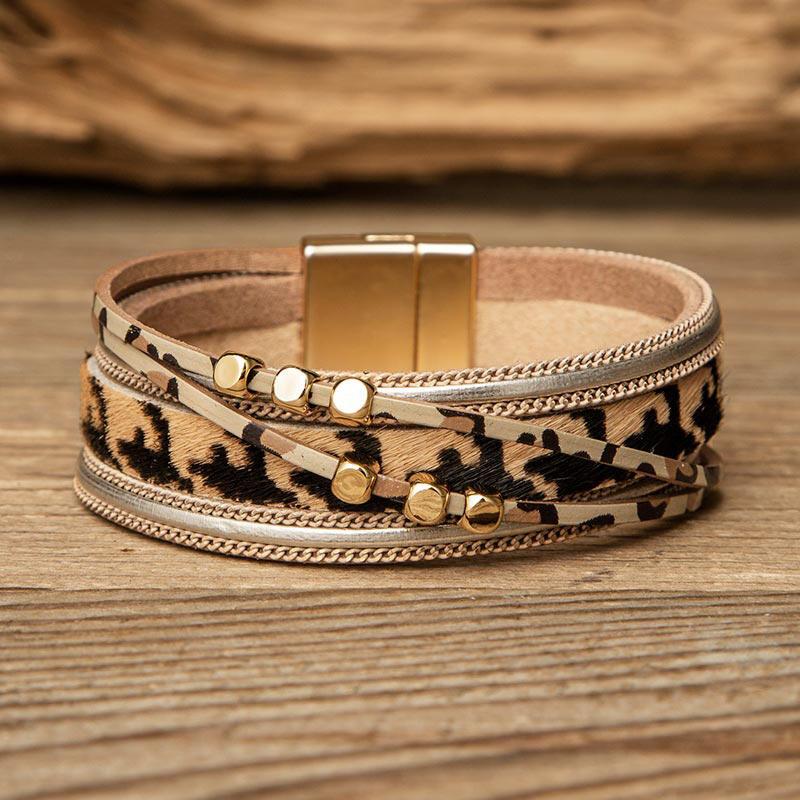 Leopard Bead Multi-Layered PU Leather Braelet