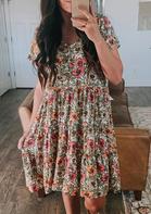 Presale - Floral Ruffled V-Neck Mini Dress