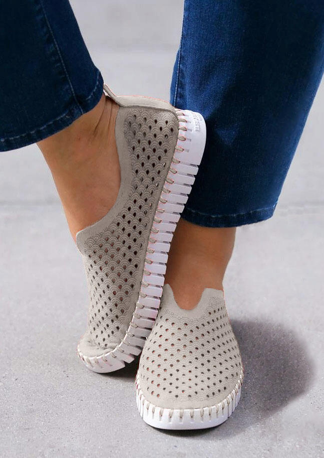 Hollow Out Slip On Flat Sneakers - Gray