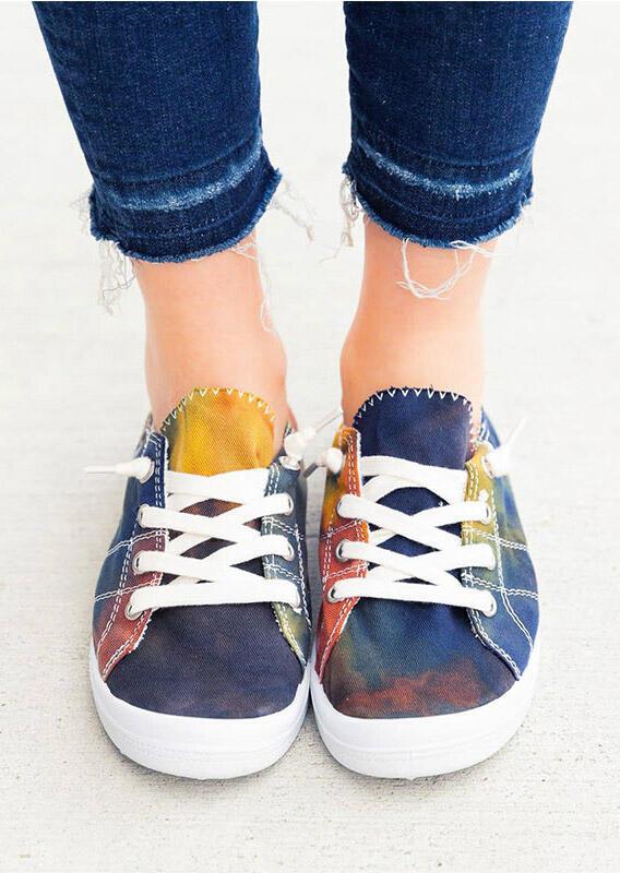 Tie Dye Lace Up Flat Sneakers