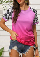 Gradient Striped Splicing T-Shirt Tee - Rose Red
