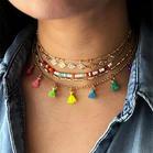 5Pcs Bohemian Colorful Tassel Beading Pendant Necklace
