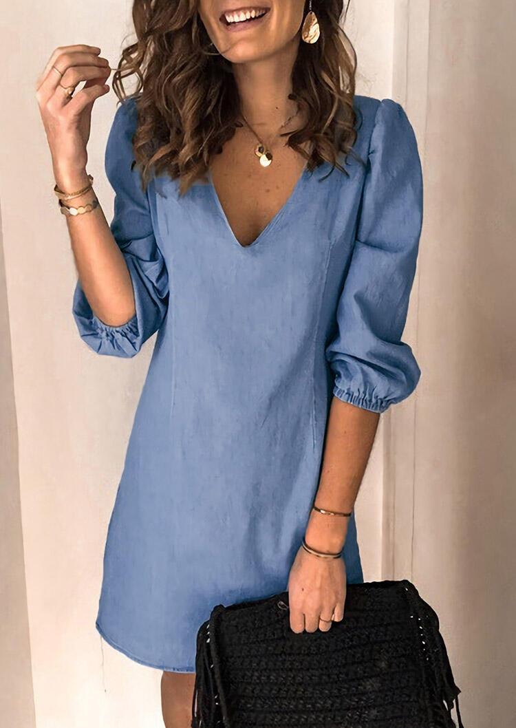 Elastic Cuff V-Neck Denim Mini Dress - Light Blue