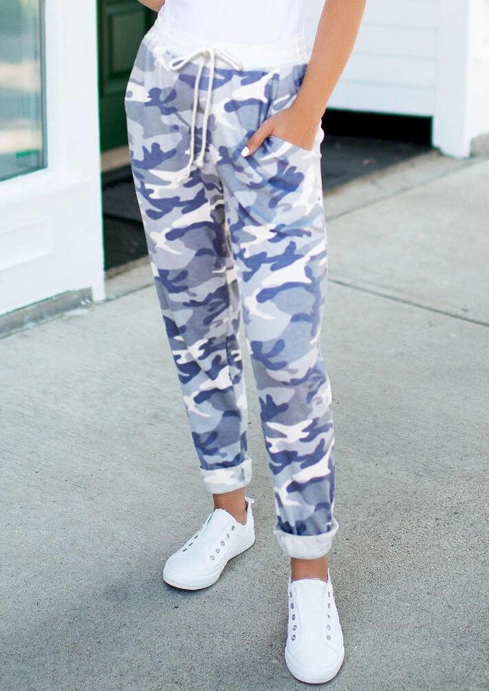 Camouflage Drawstring Pocket Casual Pants