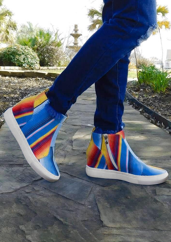 Colorful Serape Striped Zipper Wedged Sneakers