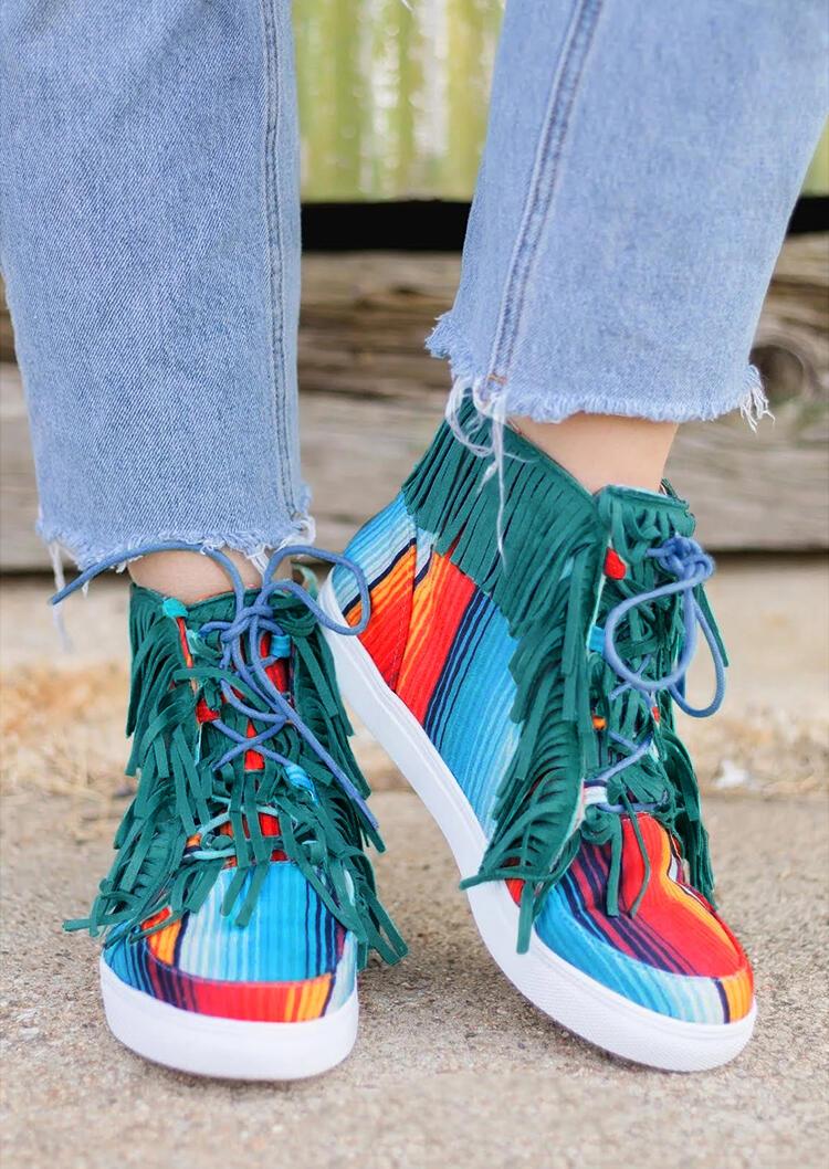 Serape Striped Tassel Western Canvas Sneakers