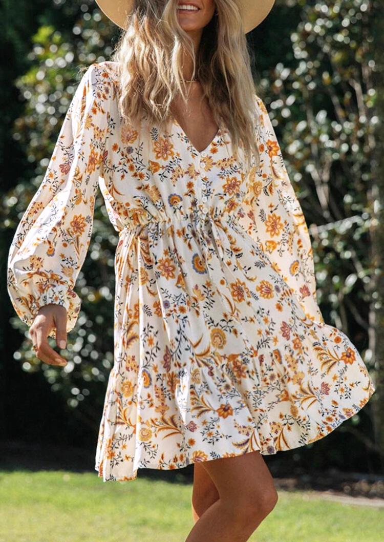 Floral Ruffled Button Elastic Cuff Mini Dress - White