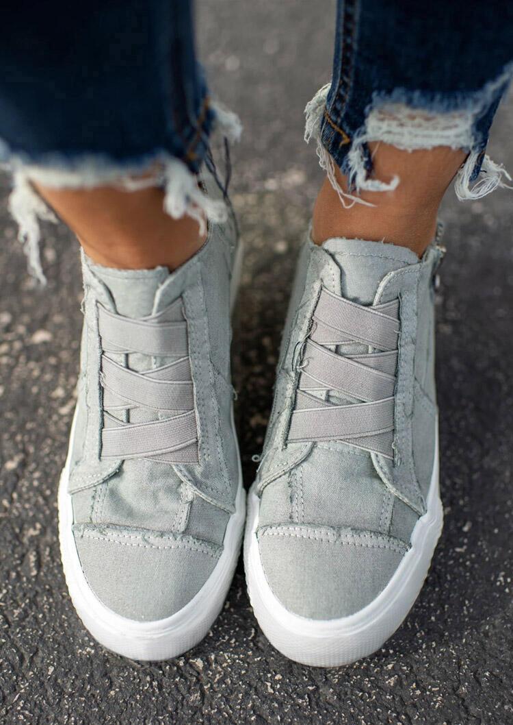 Elastic Band Flat Zipper Canvas Sneakers - Light Grey