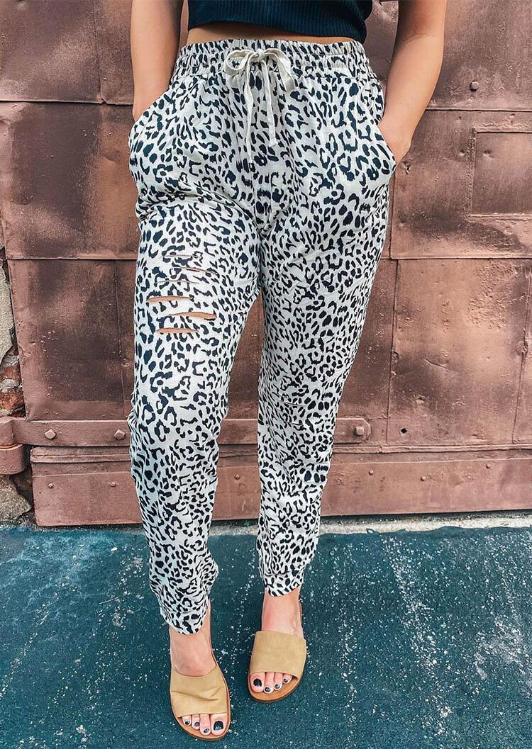 Leopard Cut Out Pocket Drawstring Pants
