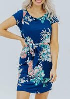 Floral O-Neck Mini Dress - Blue