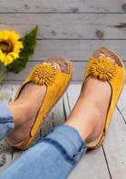 Beach Sunflower Slip On Platform Slippers