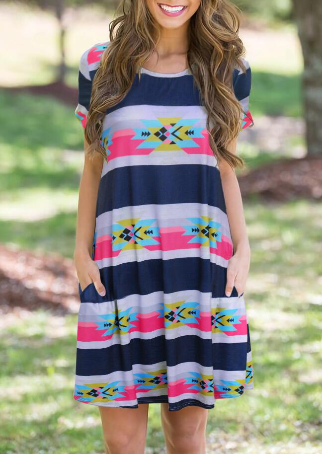Aztec Geometric Striped Splicing Pocket Mini Dress