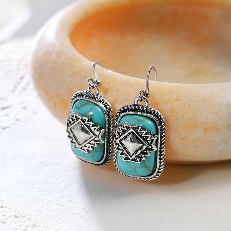 Bohemian Aztec Geometric Turquoise Earrings