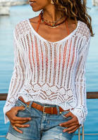 Hollow Out V-Neck Knitted Cover Up - White