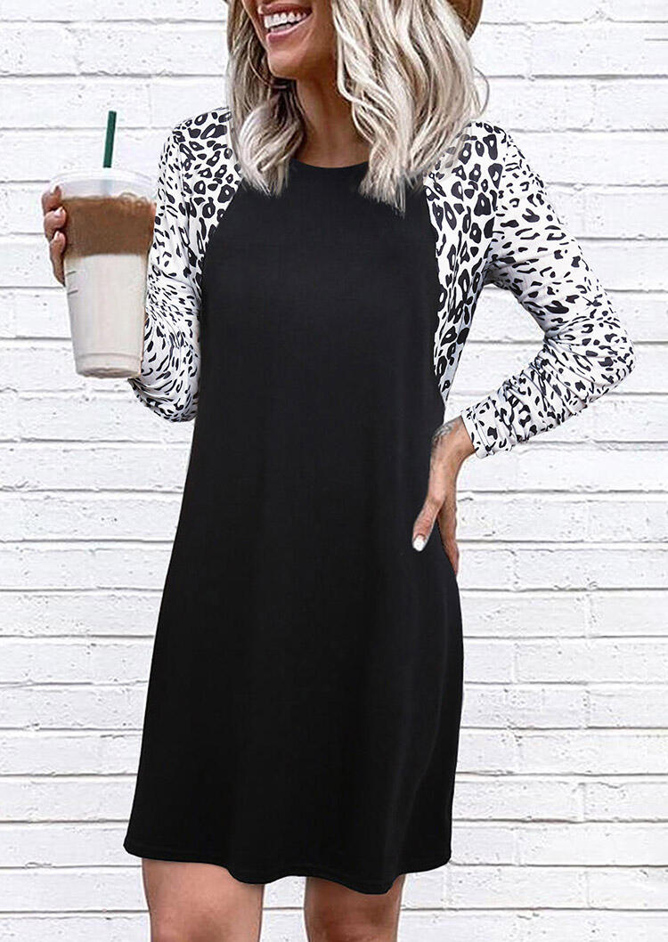 Color Block Leopard Splicing Mini Dress - Black