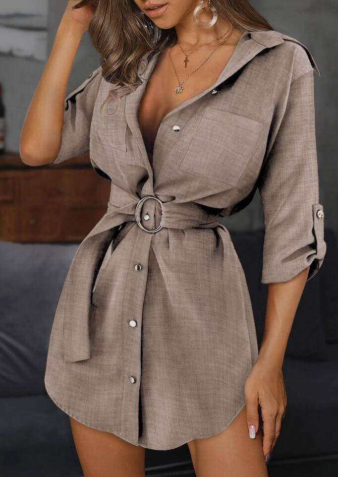 Button Pocket Tab-Sleeve Mini Dress - Light Coffee