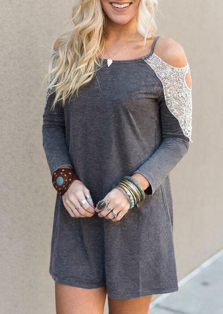 Lace Splicing Hollow Out Cold Shoulder Mini Dress - Gray