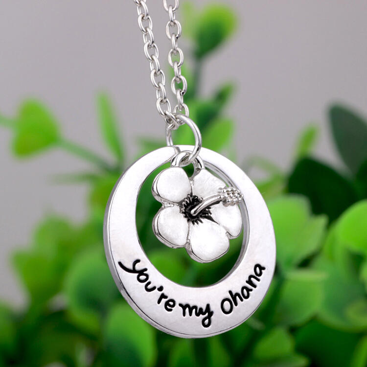 You're My Ohana Floral Pendant Necklace - Silver